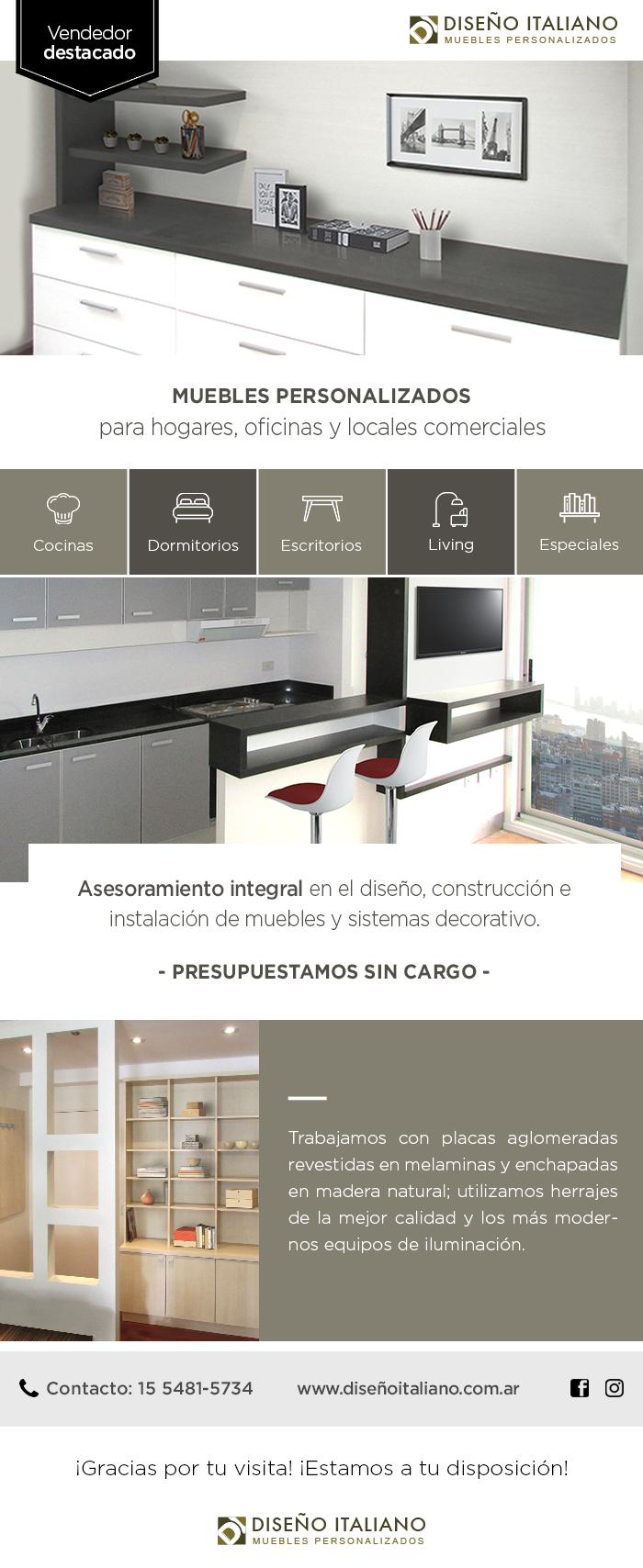 Muebles personalizados para hogares, oficinas y locales comerciales